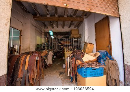 Leather Workshop In Mont-roig Del Camp, Tarragona, Catalunya, Spain.