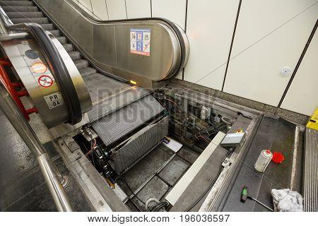 Maintenance work for escalator in Vienna, Austria.