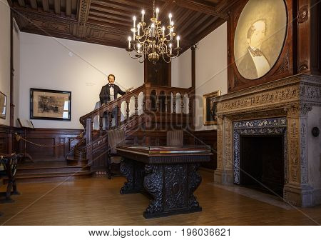 VIENNA/ AUSTRIA - JULY 7, 2017. Interior of the House of Music with wax sculpture of first Kapellmeister (conductor) of the Vienna Philharmonic Otto Nicolai.