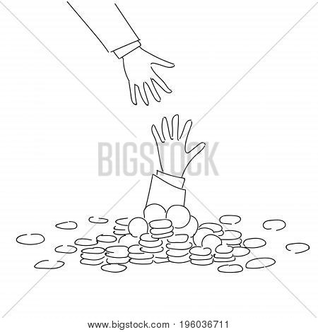 Business Hand Helping Businessman From Coin Heap Finance Fail Bankruptcy Crisis Concept Doodle Vector Illustration