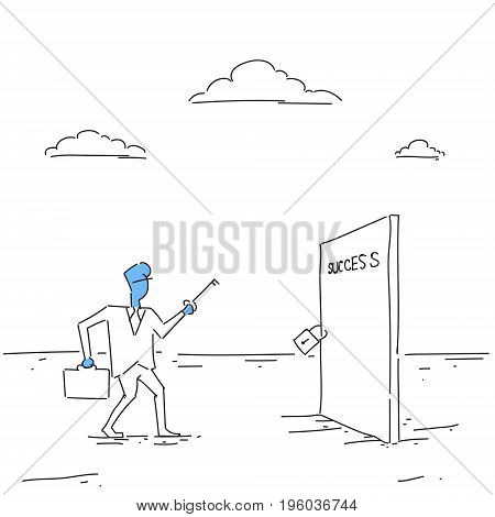 Business Man Hold Key From Success Door, Successful Career Opportunity Concept Doodle Vector Illustration