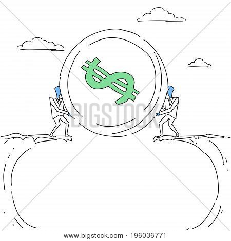 Business Men Giving Coin Over Cliff Gap Partners Teamwork Financial Cooperation Concept Doodle Vector Illustration
