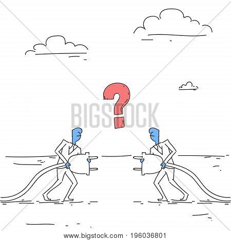 Business Men Holding Electrical Plug Teamwork Businesspeople Connection Concept Doodle Vector Illustration