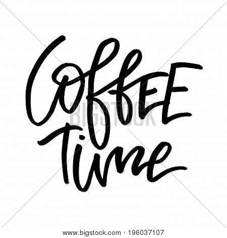 Coffee Time. Handwritten Text. Modern Calligraphy. Isolated