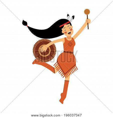 Native american indian girl in traditional costume dancing with tambourine vector Illustration isolated on a white background