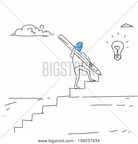 Business Man Walking On Stairs Up To Light Bulb New Idea For Startup Concept Doodle Vector Illustration
