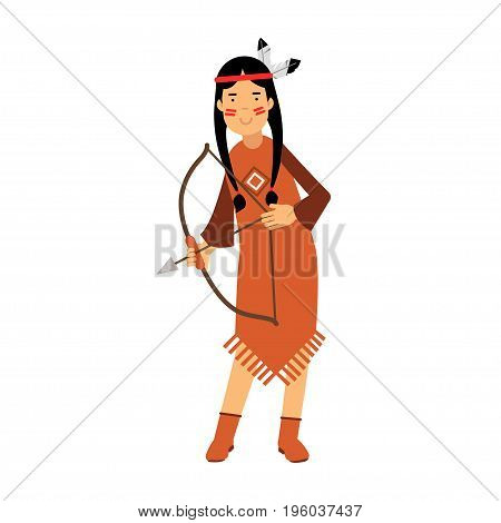 Native american indian girl in traditional costume archery with a bow vector Illustration isolated on a white background