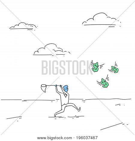 Business Man Catching Coins With Butterfly Net Finance Success Concept Doodle Vector Illustration