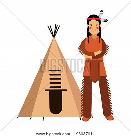 Native american indian in traditional costume standing near his wigwam or teepee vector Illustration isolated on a white background