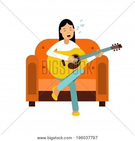 Young woman sitting on an orange armchair and playing guitar vector Illustration isolated on a white background