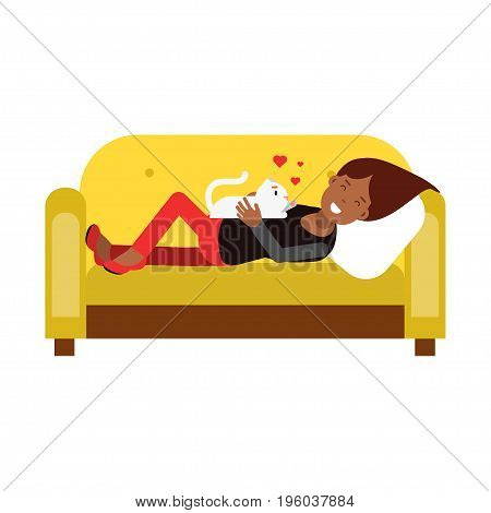 Young woman lying on an yellow sofa and embracing her white cat vector Illustration isolated on a white background