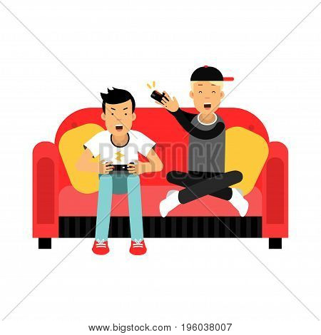 Two young male friend sitting on sofa and playing video games vector Illustration isolated on a white background