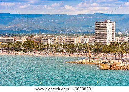 Coastline Costa Dorada, Main Beach In Salou, Tarragona, Catalunya, Spain. Copy Space For Text.