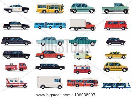 Transport set. Flat design vector illustration isolated on white background