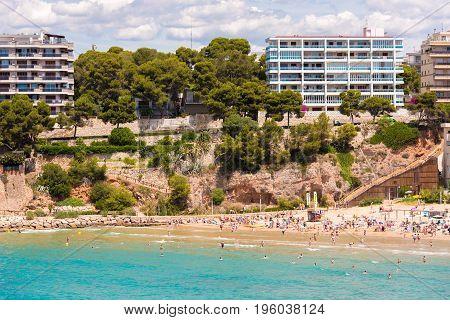 Coastline Costa Dorada, Beach In Salou, Tarragona, Catalunya, Spain. Copy Space For Text.