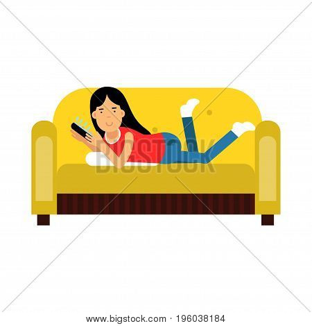 Young brunette girl in casual clothes lying on her stomach on yellow sofa and using her smartphone vector Illustration isolated on a white background