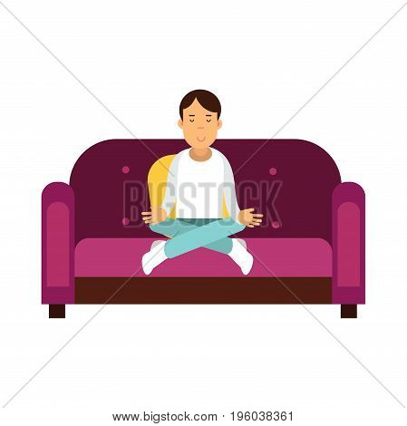 Young man sitting on a sofa and meditating in lotus pose vector Illustration isolated on a white background
