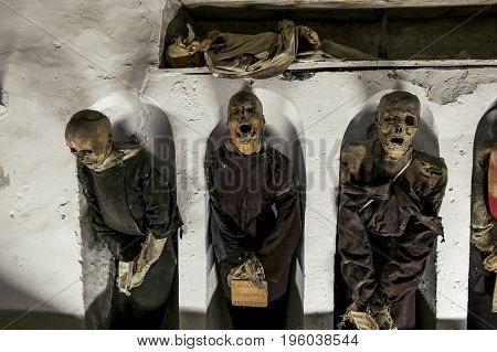 Palermo.Italy.May 26 2017.Burial in the catacombs of the Capuchins in Palermo . Sicily