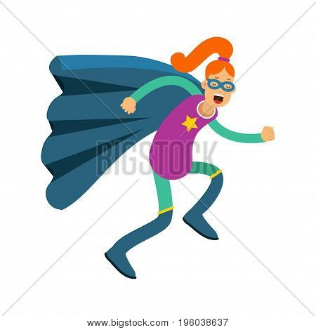 Young redhead woman in classic superhero costume and a blue cape vector Illustration isolated on a white background