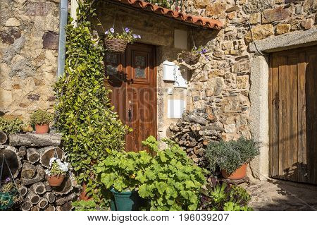 rustic stone made house with flower pots and wooden logs