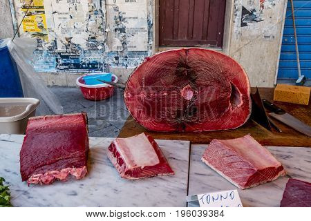 Palermo.Italy.May 26 2017.Fresh tuna on the counter at the market in Palermo . Sicily