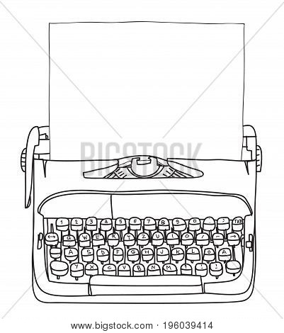 Working Typewriter With Paper  Hand Drawn Vector Cute Art Illustration