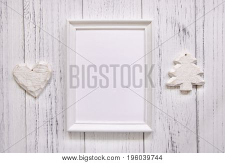 Stock Photography White Frame Vintage Painted Wood Floor Craft Template Background