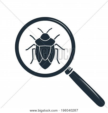 Beetle under the magnifying glass. Insect icon.