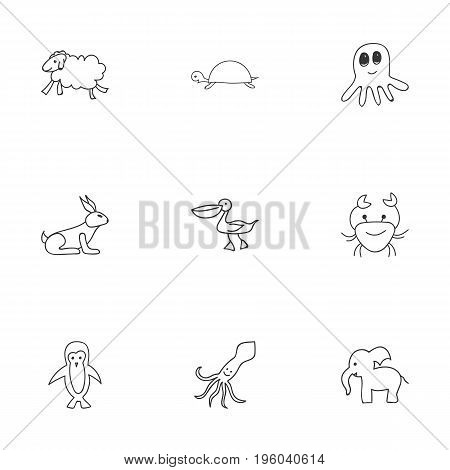 Set Of 9 Editable Zoo Doodles. Includes Symbols Such As Cancer, Pelican, Rabbit And More