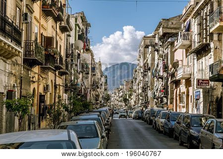 Palermo.Italy.May 26 2017.The narrow streets in the historical centre of Palermo . Sicily
