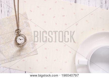 Stock Photography Flat Lay Text Letter Envelope Pocket Clock Coffee Cup