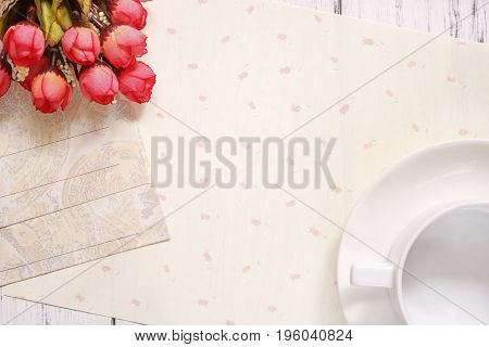Stock Photography Flat Lay Text Letter Envelope Coffee Cup Rose Flower