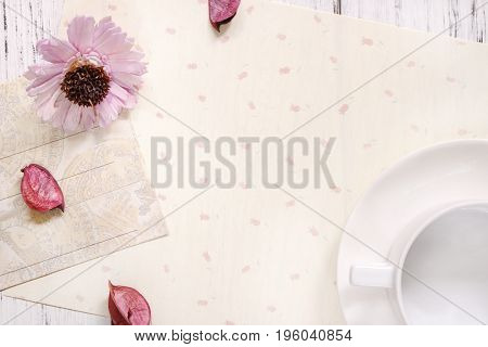 Stock Photography Flat Lay Text Letter Envelope Coffee Cup Purple Flower