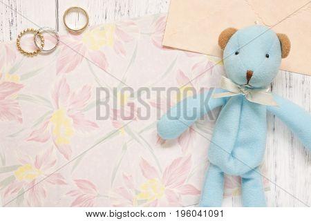 Flat Lay Stock Photography Flower Pattern Letter Envelope Rings Blue Cute Bear