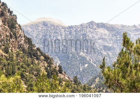 the gorge of Samaria, the mountainous terrain