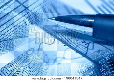 Business background in blues with buildings graph and pen.