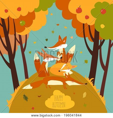 Cute foxes in autumn forest. Vector illustration