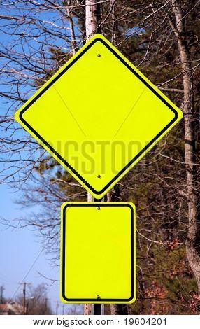 Empty yellow warning sign. Add any word you want