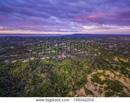 Aerial view of Mornington Peninsula suburban areas near Rye at beautiful dusk. Melbourne Australia