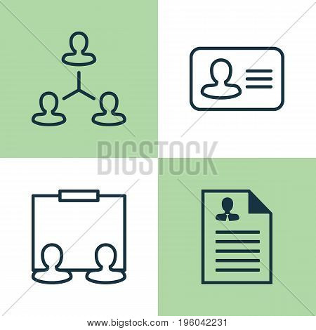 Hr Icons Set. Collection Of Hierarchy, Curriculum Vitae, Personal Badge And Other Elements