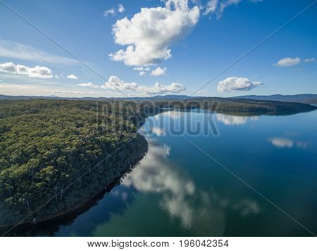Aerial view of Croajingolong national Park and Wallagaraugh River Australia