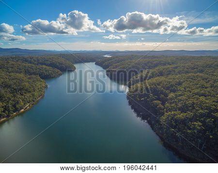 Aerial view of beautiful Croajingolong national Park and Wallagaraugh River Australia