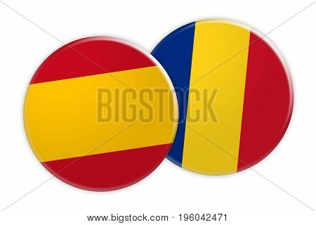 News Concept: Spain Flag Button On Romania Flag Button 3d illustration on white background