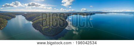 Aerial panoramic view of Croajingolong national Park and Wallagaraugh River Australia