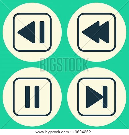 Audio Icons Set. Collection Of Last Song, Mute Song, Rewind Back And Other Elements