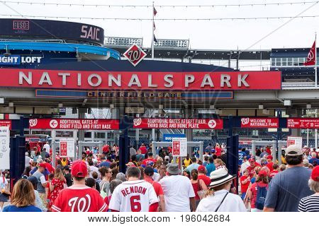 Washington D.C USA - 4 July 2017: The fans walking into an early morning baseball game betweens the Natiionals and the Mets on the fourth of July 2017