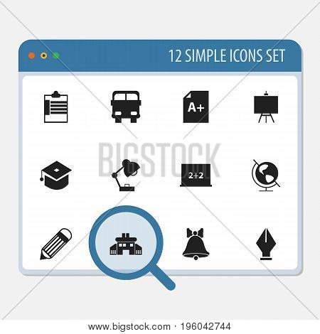 Set Of 12 Editable Knowledge Icons. Includes Symbols Such As Ceremony, Page, Eraser And More