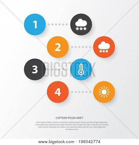 Climate Icons Set. Collection Of Wet, Temperature, Sun And Other Elements