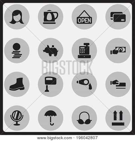 Set Of 16 Editable Shopping Icons. Includes Symbols Such As Disbursement, Loan Card, Boot And More