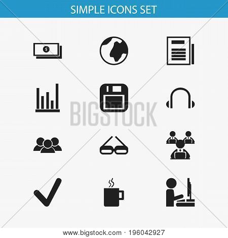 Set Of 12 Editable Office Icons. Includes Symbols Such As Mug, Group, Page And More